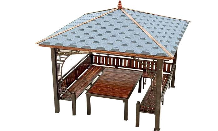 铁艺实木凉亭(沥青瓦顶)