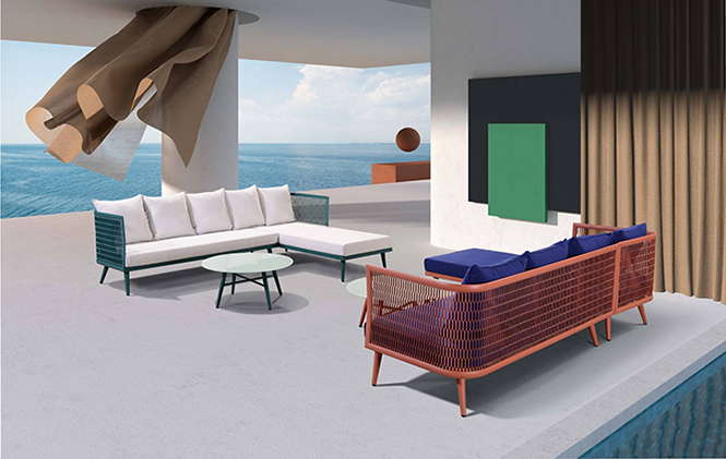 唯美彩色3D铝休闲沙发