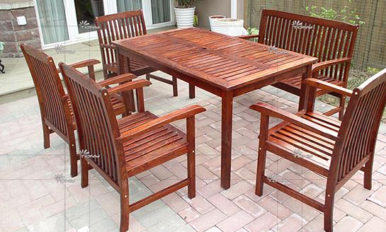 户外家具-水曲柳长方桌椅