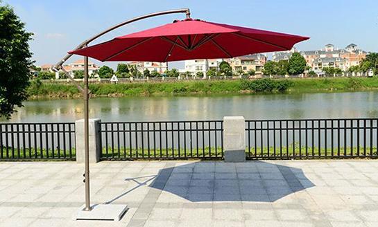 户外遮阳伞-AMT直径3米酒红香蕉伞