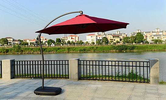 户外遮阳伞-AMT酒红地中海香蕉伞