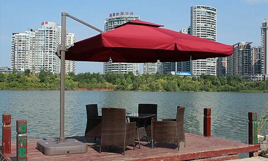 户外遮阳伞-AMT3米水座正方酒红罗马伞