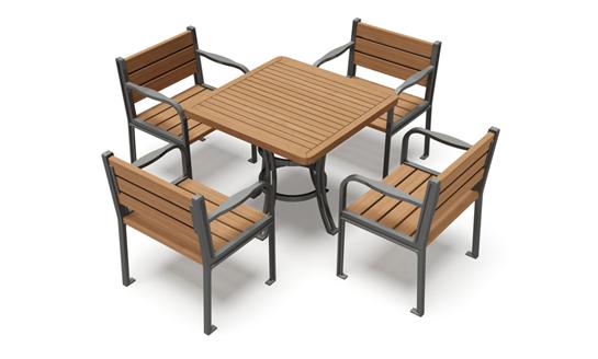 NJ-Z35-公园实木桌椅
