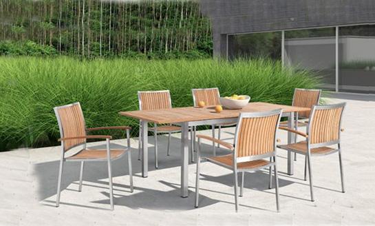 不锈钢柚木桌椅-1#