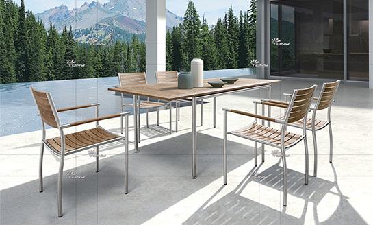 不锈钢柚木桌椅-2#