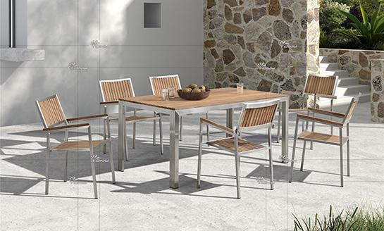 不锈钢柚木桌椅-3#