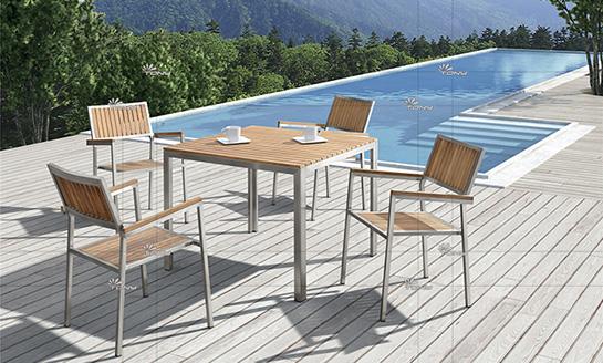 不锈钢柚木桌椅-4#
