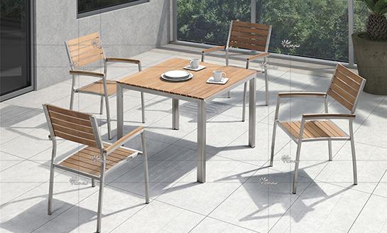 不锈钢柚木桌椅-5#