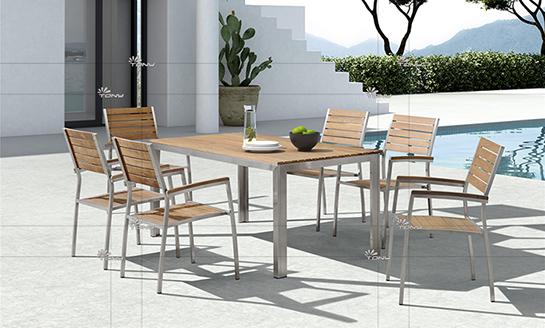 不锈钢柚木桌椅-6#