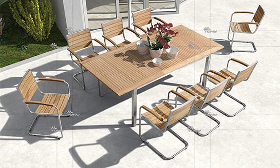 不锈钢柚木桌椅-7#