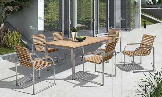 不锈钢柚木桌椅-8#