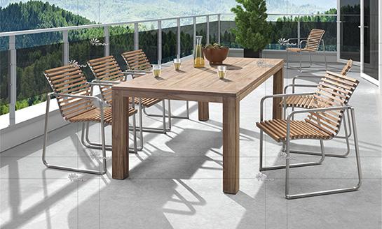 不锈钢柚木桌椅-9#