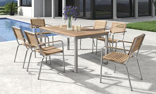 不锈钢柚木桌椅-10#