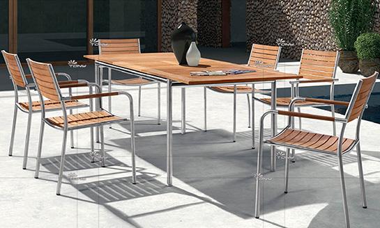 不锈钢柚木桌椅-11#