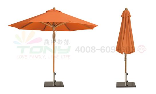 豪华中柱遮阳伞-橘色(玻纤)