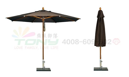 豪华中柱遮阳伞-咖色(玻纤)