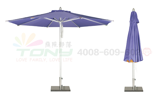 豪华中柱遮阳伞-浅蓝(铝合金)