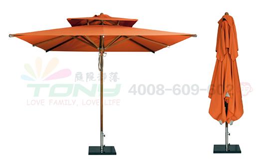 豪华中柱遮阳伞-橘色双顶正方(玻纤)