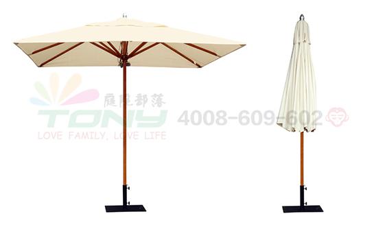 豪华中柱遮阳伞-米白单顶正方(玻纤)