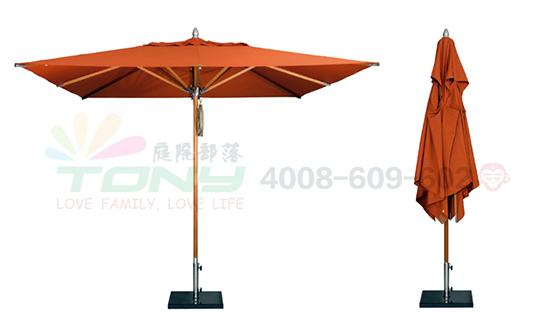 豪华中柱遮阳伞-橘色单顶正方(玻纤)