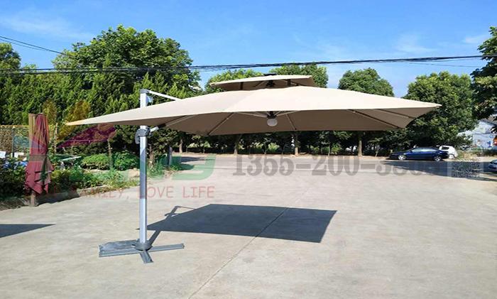 遮阳伞-美版双顶太阳能正方大罗马伞