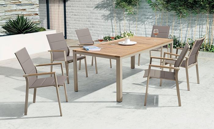 铝合金柚木桌椅